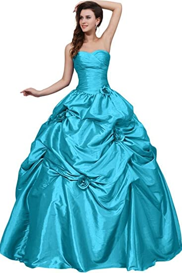 9e6e8e90d130 Dearta Women's Ball Gown Sweetheart Floor-Length Quinceanera Dress UK 6 Blue