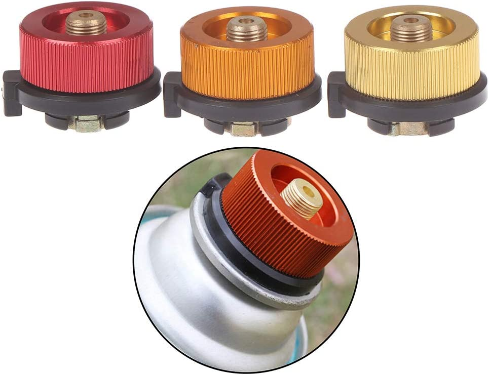 1 Pc Gas Metal Adapter Camping Stove Butane Fuel Canister Converter Split Type Furnace Converter Connector Aluminum Alloy Random Color