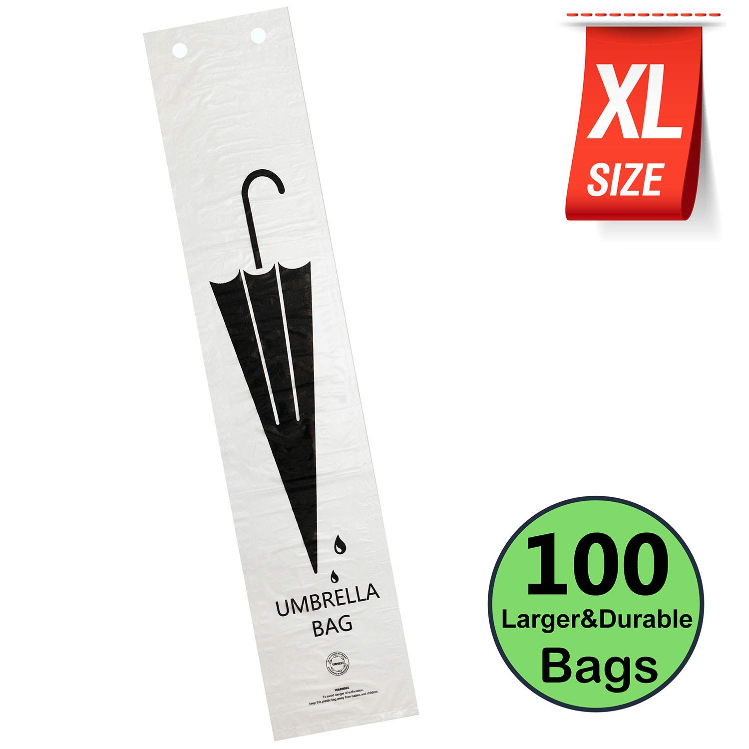 VIBNEST Wet Umbrella Bags XL-Size Pack of 100 for Stand Holders and Refills Fits Most Stands Plastic Replacement Bag Refills by VIBNEST