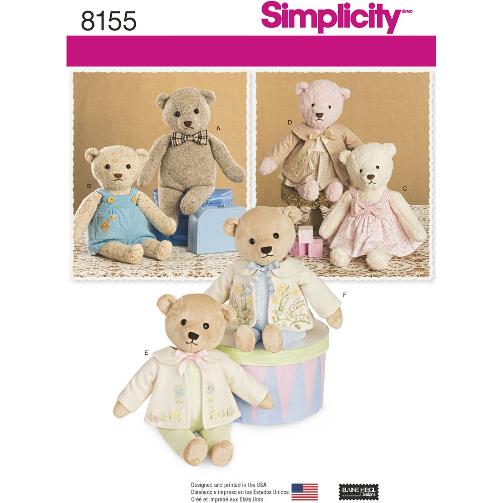 Amazon Com Simplicity Pattern 8155 Stuffed Bears With Clothes One