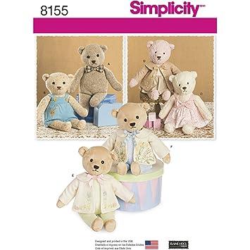 Simplicity Schnittmuster 8155 gefüllt Bären mit Kleidung nähen ...