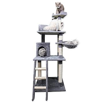 Nobleza - Árbol rascador para Gatos Deluxe con Plataformas múltiples, Poste de sisal, Cueva de Descanso y Hamaca. Color Gris y Beige. (59 * 59 * 156) ...
