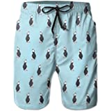Men Bathing Suit I Love Iceland Puffin Lightweight Beach Board Short with Pocket