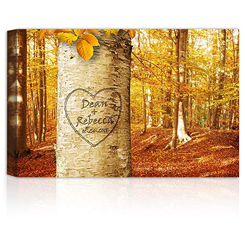 Love Growing - Personalized Canvas Prints Gift Couple's Names and the Special Date Gift for Anniversary, Valentine's day,Wedding. (Print Date Wedding)