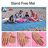 "OGOUGUAN Sand Free Beach Mat Blanket Sand Proof Magic Sandless Sand & Dust Disappear Fast Dry Easy to Clean Waterproof Rug Avoid Sand Dirt and Grass Keep Everything Clean and Perfect (79""×79"") (Blue)"