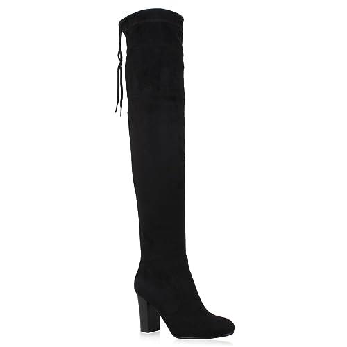 Stiefelparadies Damen Stiefel mit Overknees mit Stiefel Blockabsatz Flandell 5c5a98