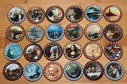 Geocache Swag Bottle Caps – 24 Piece Famous Museum Paintings For Sale