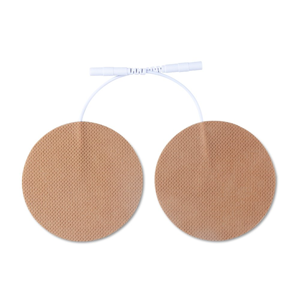 Konmed Premium TENS Electrodes 2.75'' Round Brown Color Electrode pads With Pigtail 2.0mm for TENS/EMS Unit, Pack of 10 Pairs