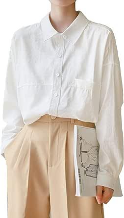 Mujer Camisa Blanca Recta de Manga Larga de Corte Clásico ...