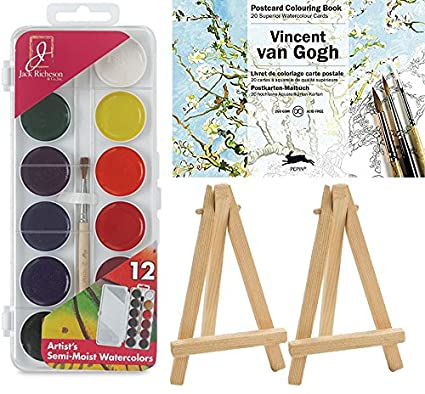 amazon com watercolor kit vincent van gogh coloring postcard book