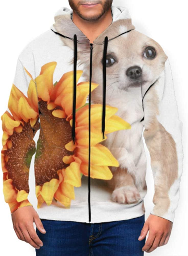 Long Sleeve Hoodie Print Chihuahua Dog Sunflower Lying On White Jacket Zipper Coat Fashion Mens Sweatshirt Full-Zip S-3xl