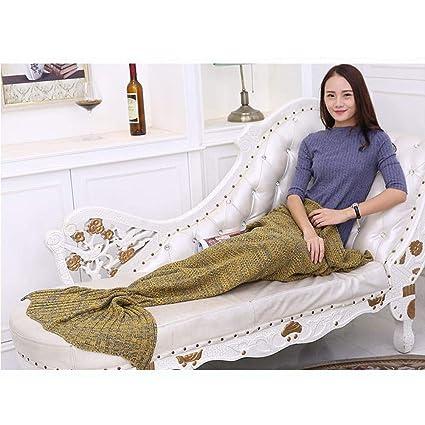KiGoing Manta del sofá Modelado de Cola de Pescado Multifuncional Manta de sofá de Punto de