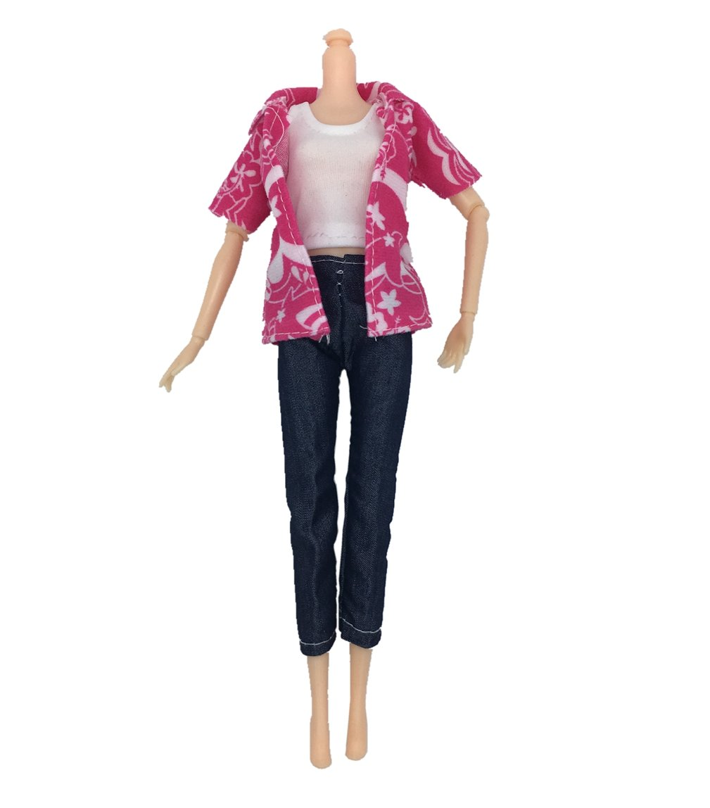 BeHonouring 3Pcs Tops and 3Pcs Pants Trousers Handmade Vest Outfits Clothes Doll Accessories for Girls Xmas Birthday Gift