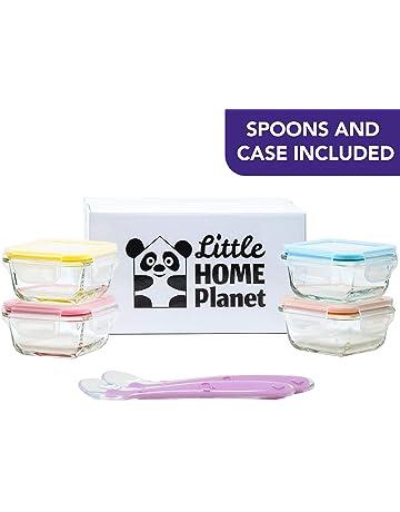 Home Planet Set de 4 Contenedores de Alimentos para Bebes, en Vidrio | 2 Cucharas