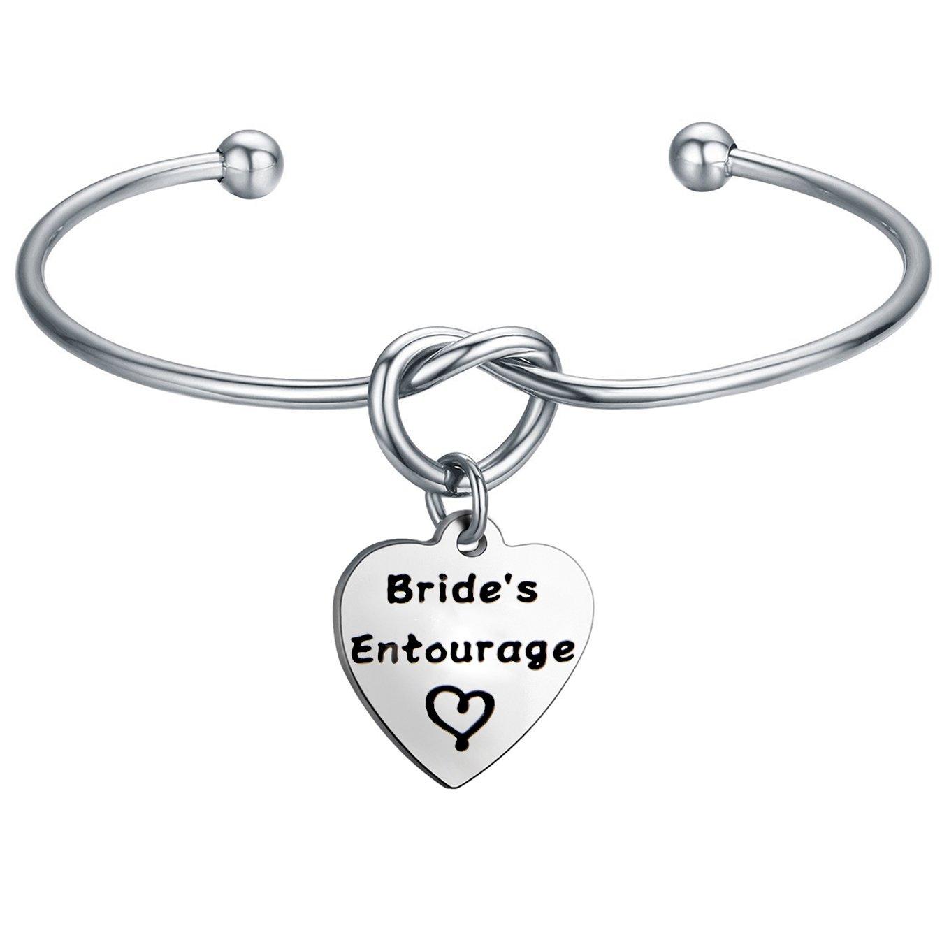 FEELMEM Bride's Entourage Love Knot Bangle Bracelet Wedding Jewelry Bridal Shower Bachelorette Party Gift (silver)