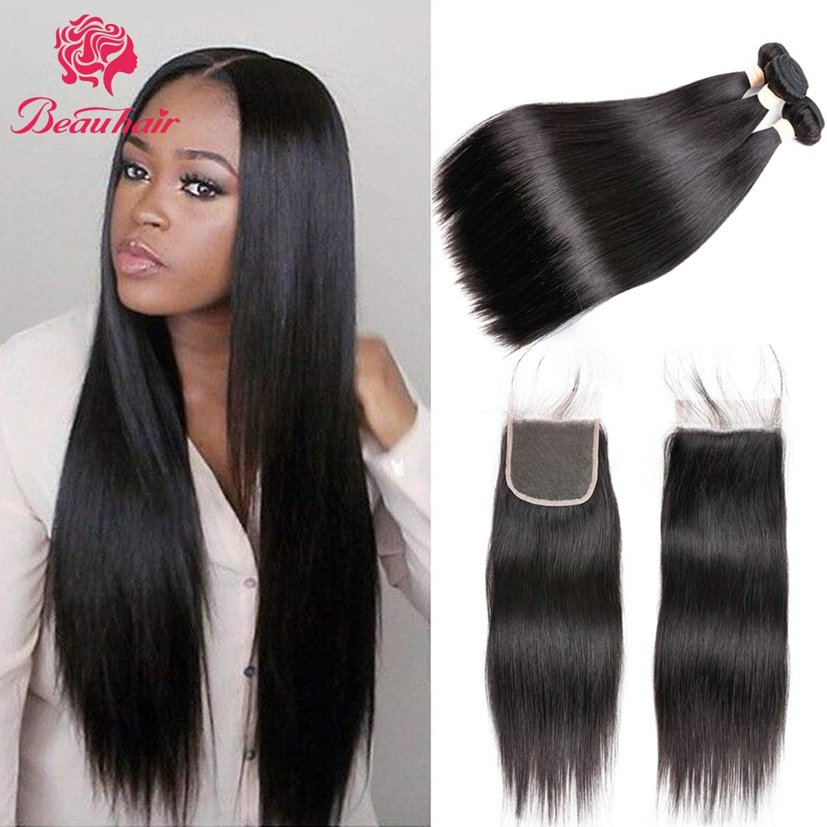 Beauhair Straight Hair Bundles with Closure (22 24 26+20 Closure) 100% Brazilian Straight Virgin Hair 3 Bundles with Lace Closure Free Part Human Hair Extensions Natural Black Color