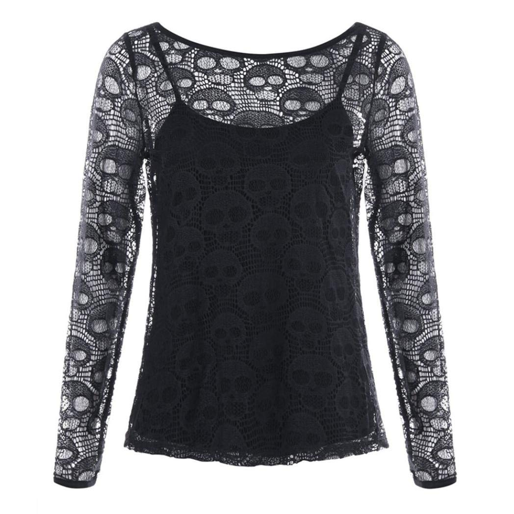 Women Halloween Costume Skull Long Sleeve Lace Hollow Out Sheer Blouse Camis Top iQKA-Women-0821