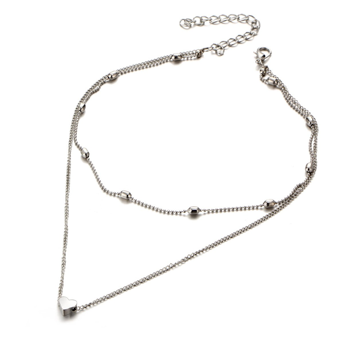 Anqifull Dainty Layered Gold Chocker Handmade Beads Fill Heart White Opal Necklace for Women Girls 012 by Anqifull (Image #3)