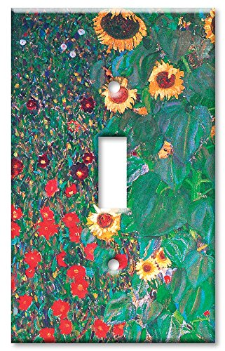 Single Switch Decorative Switchplate Cover (Single Gang Toggle Wall Plate - Klimt: Sunflowers)