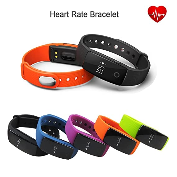 ID107 Armband iTontek® ID107 Bluetooth wristband clips strap w/ Heart Rate Monitor Fitness Tracker for Android iOS Smartphone (ORANGE)