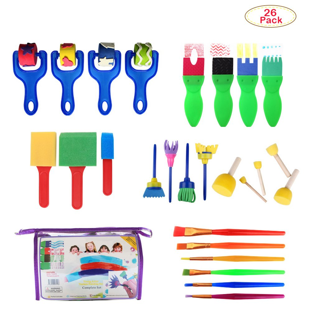 Deardeer 26 Pieces Early Learning Sponge Painting Brush Art Craft Brushes Set for Kids Sponges Painting Tools in a Portable Storage Bag (Color May Vary)
