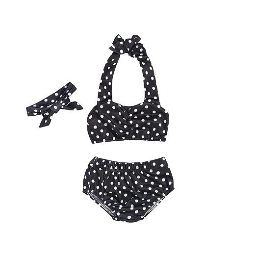 565416b09c Baby Girl Bikini,Kids Toddler Polka Dot Swimsuits Halter Swimwear Bikinis  Set with Headband (