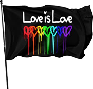Ximengabc Rainbow Gay Pride Love is Love 3x5 Foot Flag Outdoor 100% Single-Layer Translucent Polyester 3'x5' Ft Banner for Garden Home