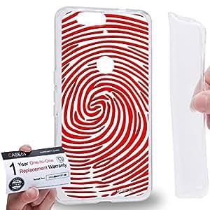 Case88 [Huawei Nexus 6P (2015)] Gel TPU Carcasa/Funda & Tarjeta de garantía - Art Fashion Red And White Finger Print Maze