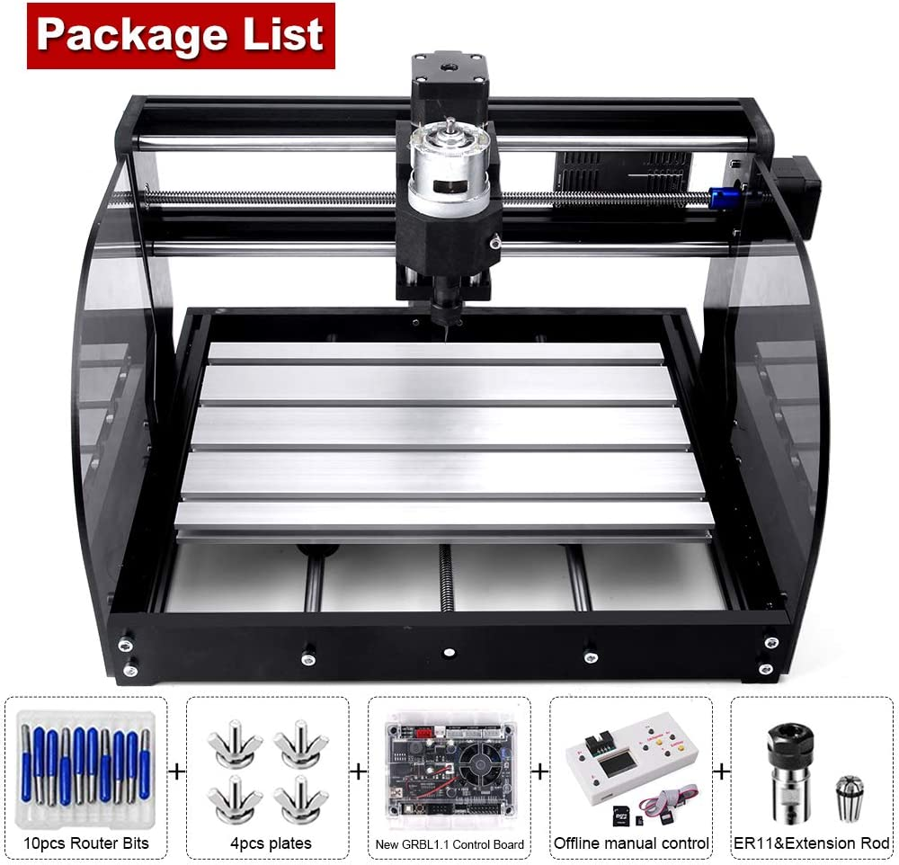 with extension rod control board 3 Axis GRBL Control PCB PVC Milling Engraving Machine Working Area 300x180x45mm by cenoz Upgrade CNC 3018 Pro-M Machine DIY CNC Machine with Protected Board