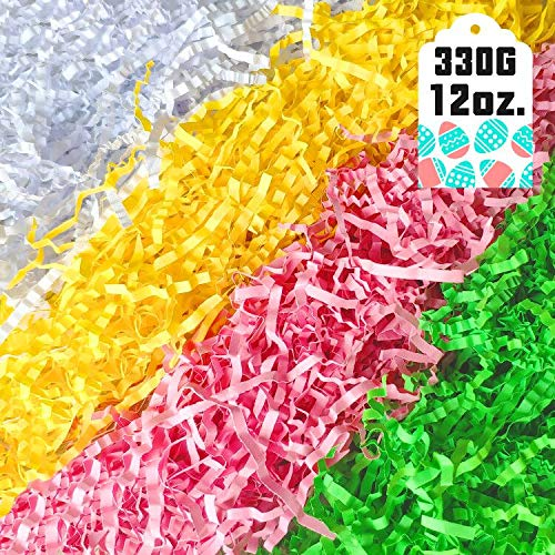 330g (12 oz.) Easter Grass Recyclable Paper Shred (Pink, Yellow and Green) Easter Theme Party Decoration for Easter Basket Grass Filler/Stuffers