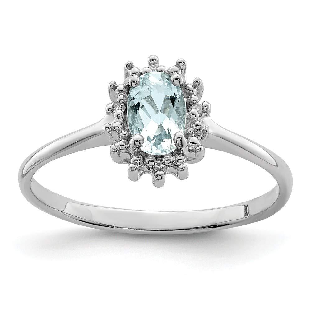 Mia Diamonds 925 Sterling Silver Solid Rhodium Aquamarine Diamond Ring 0.01cttw