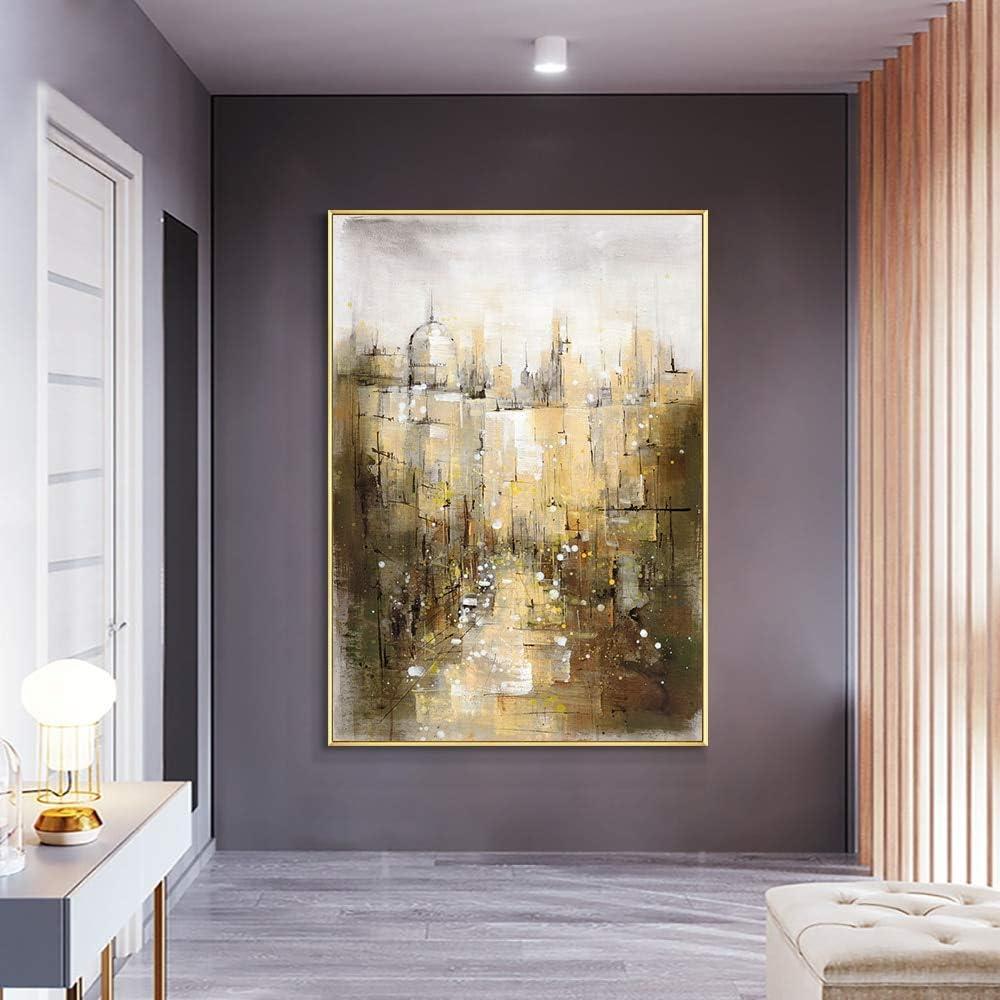 wZUN Cuadro de Pintura de Arquitectura de Ciudad Abstracta Pintura al óleo sobre Lienzo Hecha decoración de Boda Sala de Estar 60x90 Sin Marco