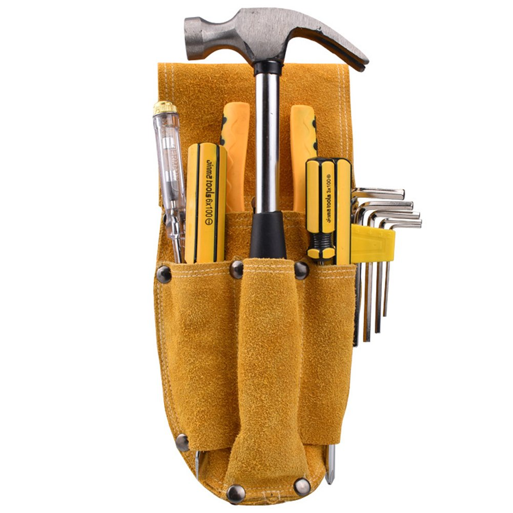 Professional Electrician Waist Work Apron Thick Cowhide Durable Woodworking Hardware Pliers Set Multi-function Tool Pocket for hammer Nail Screwdriver HJ0005