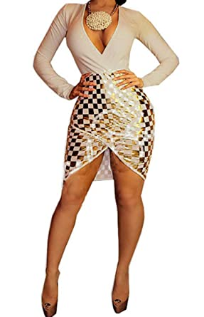 Women s Girls Deep V-Neck Long Sleeve Sequins Split Bodycon Bandage Party  Club Midi Dress 9560aec3d52e