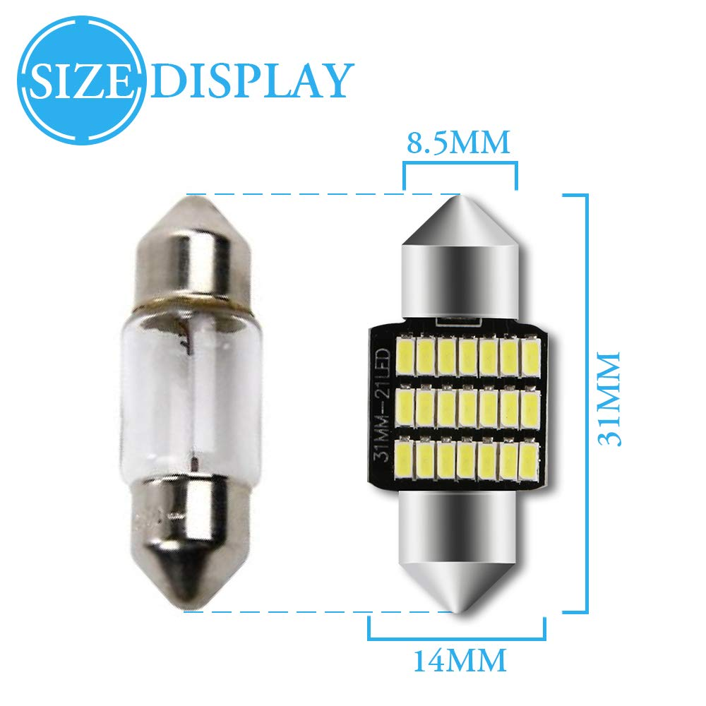 Grandview 4pcs 41MM C5W Canbus White Festoon Interior LED Bulbs with 36-3014-SMD Chips 6411 6413 6418 C5W LED Bulbs for Car Interior Dome Map Door Courtesy License Plate Lights 2-Year Guarantee