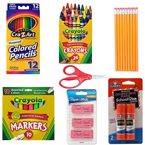 School Supply Basics - Supply Pack for Pre-school, 1st, 2nd, and 3rd Grade - Markers, Colored Pencils, Lead Pencils, Crayons, Scissors, 2 Glue Sticks, 3 Erasers