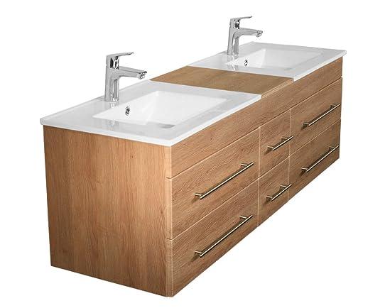 meuble salle de bain double vasque roma xl décor chêne: amazon.fr ... - Photo Meuble Salle De Bain