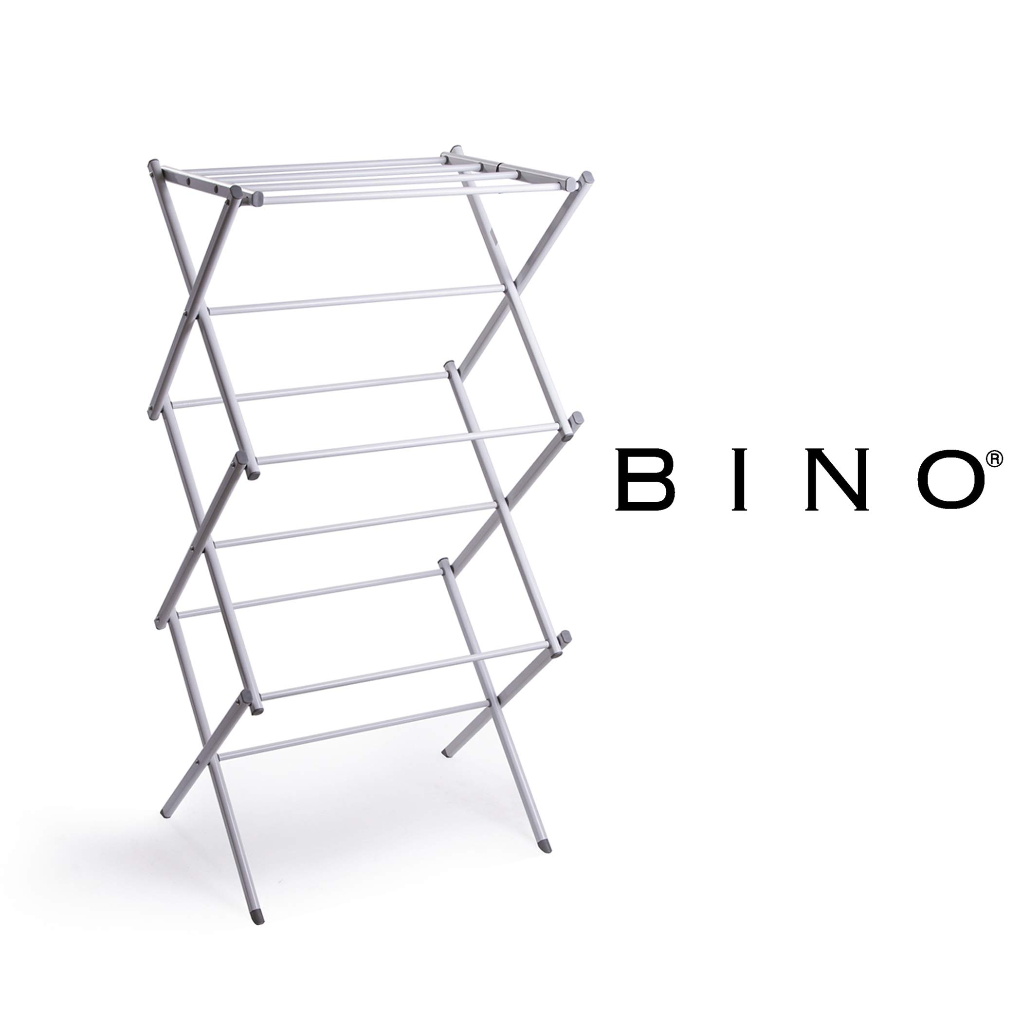 BINO 3-Tier Collapsing Foldable Laundry Drying Rack, White