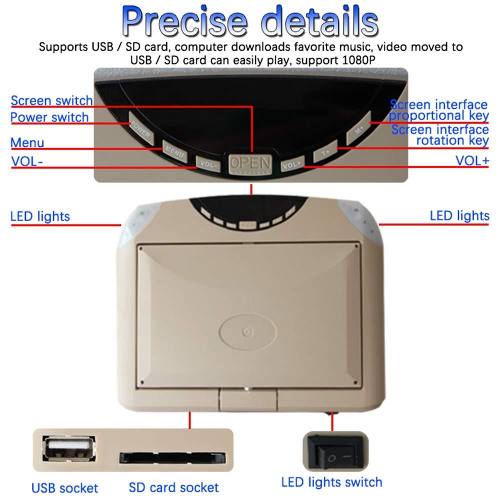 KOQIO 10.1 Pulgadas Car Flip Down Monitor 1080P HD TFT LCD Montaje en Techo Monitor Ultra Thin Overhead Reproductor de Video para Coche SD MP3 MP5 LED con USB SD FM