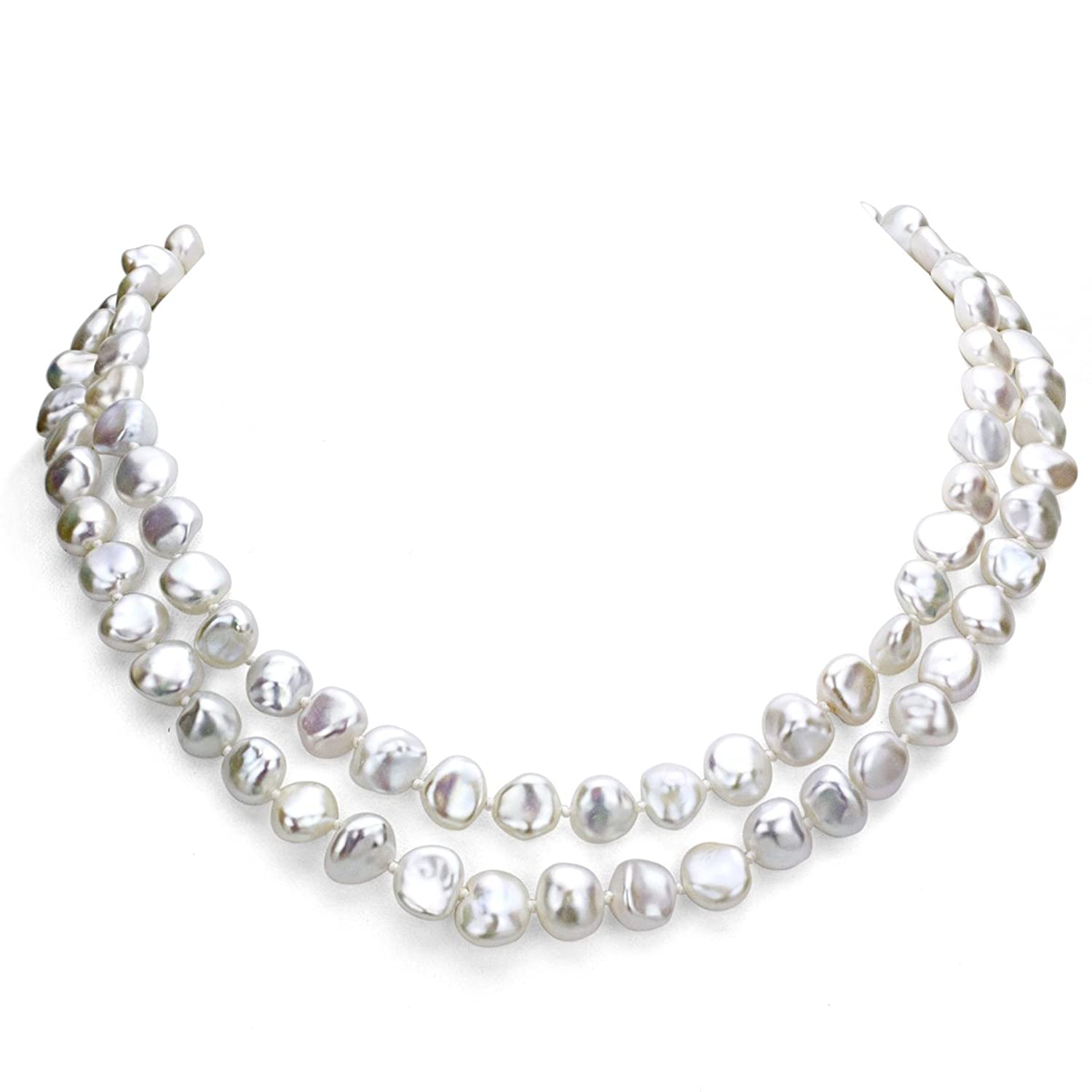 9-9.5mm White Off Shape Keshi Cultured Pearl Endless Necklace, 36""