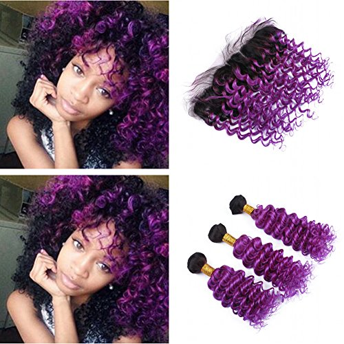 Cloud-Hair-Dark-Roots-Deep-Wave-Hair-Wefts-With-Frontal-Closure-Ombre-Color-1B-Purple-Deep-Curly-Hair-And-Ear-To-Ear-Frontal-With-Baby-Hair