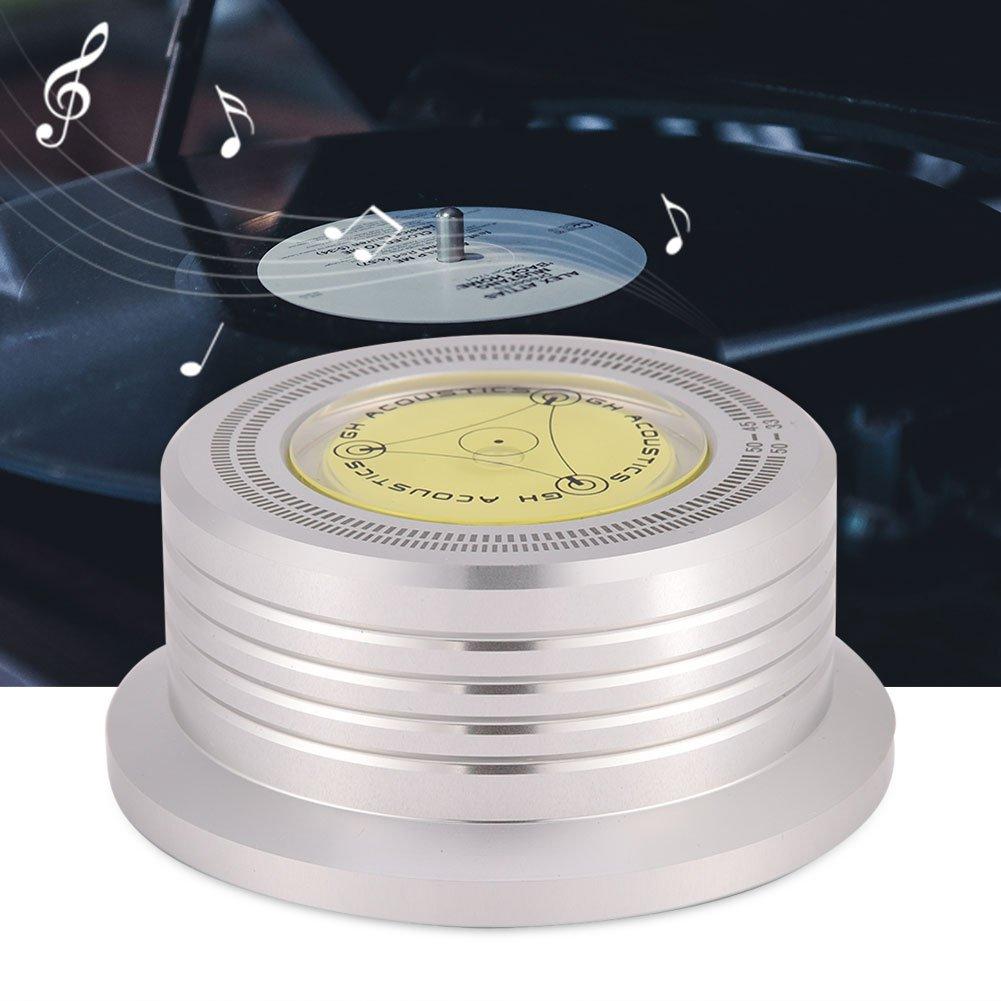 VBESTLIFE Abrazadera del Estabilizador de Registro del Disco de la Placa Giratoria 50Hz con Nivel de Burbuja para Reproductor de Discos de Vinilo LP ...