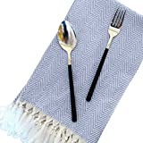100% Linen Cotton Dinner Napkins - 4 Pack 15'' x 23'' Natural Square Kitchen Cloth, Tassel Design Table Dish Cloth ,Ideal for Events and Regular Home Use,Wedding,Grey