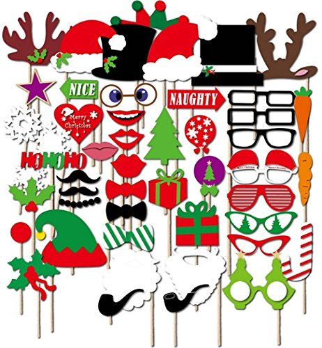 Attached Photo Booth Props, MAISA Party Favors for Merry Christamas Carnival Bachelorette Dress-up Acessories 50 Pcs. (Tree Christmas In Stuck Cat)