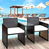 Leisure Zone Outdoor Wicker Chat Set with Cushions Backyard Garden Furniture