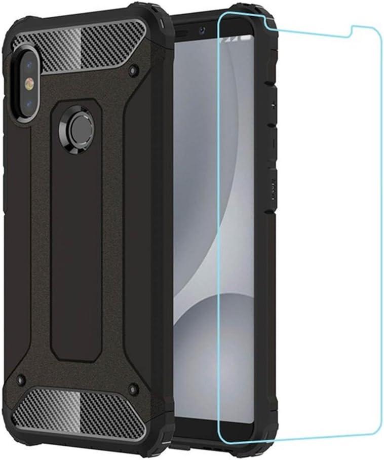 DESCHE para Funda Xiaomi Redmi Note 5, Hard PC Soft TPU 2 en 1 360 Armadura Protectora Funda Resistente a los arañazos a Prueba de Golpes Funda Duradera para teléfono + Vidrio Templado -Negro