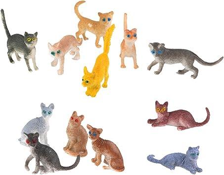 12 Piezas Modelos de Figuras de Animales Gatos Plásticos Coloridos para Niños: Amazon.es: Juguetes y juegos