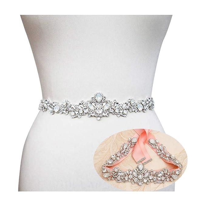 5d58b2095c2fe Yanstar Silver Bridal Wedding Belt Crystal Rhinestone Sash Wedding Dress  Belt