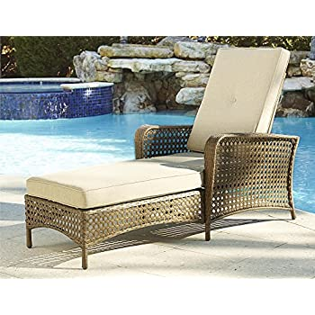 cosco outdoor adjustable chaise lounge chair lakewood ranch steel woven wicker patio furniture with cushion brown - Lounge Chair Outdoor