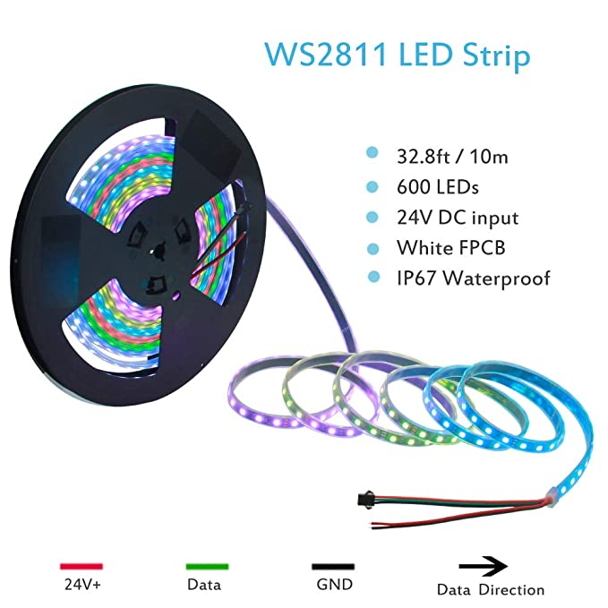 ALITOVE 32 8ft Addressable RGB LED Strip Light WS2811 Dream Color Digital  Programmable Flexible LED Pixel Tape Light 24V 10m 600 LEDs 5050 SMD